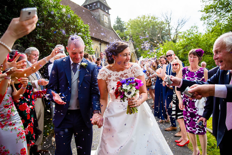 Confetti Throw by Surrey Wedding Photographer - Stylish Wedding Photography