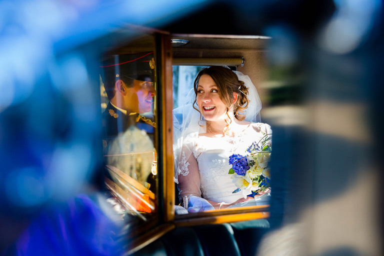 Bridal Car Reflections by Stylish Wedding Photography - Surrey Wedding Photographer